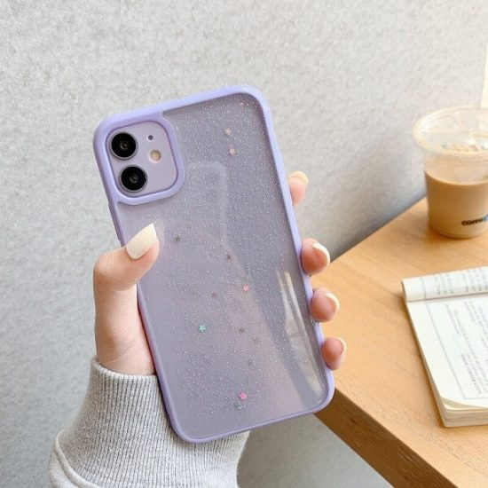 Purple Shockproof Star Glitter iPhone 13 Pro Case