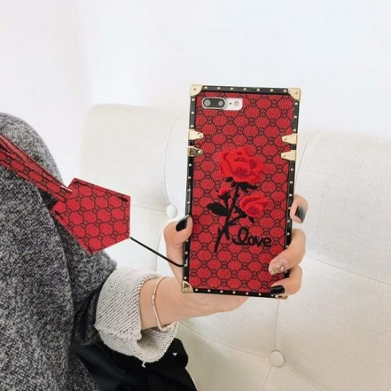 Red Color Square 3D Rose Flower iPhone Case With Lanyard