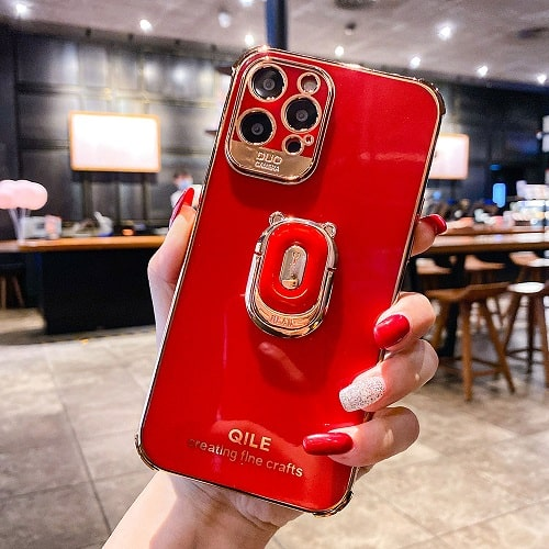 Red Gold Laser iPhone Case With Finger Ring