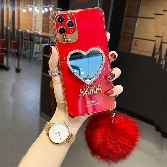 Red Heart shaped Mirror case with Hairball