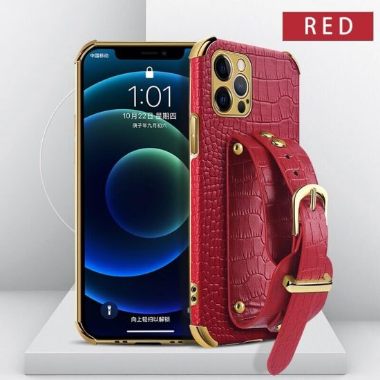Red leather wristband phone case