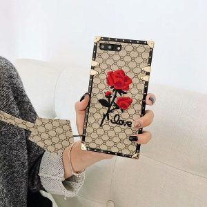Square 3D Rose Flower iPhone Case With Lanyard