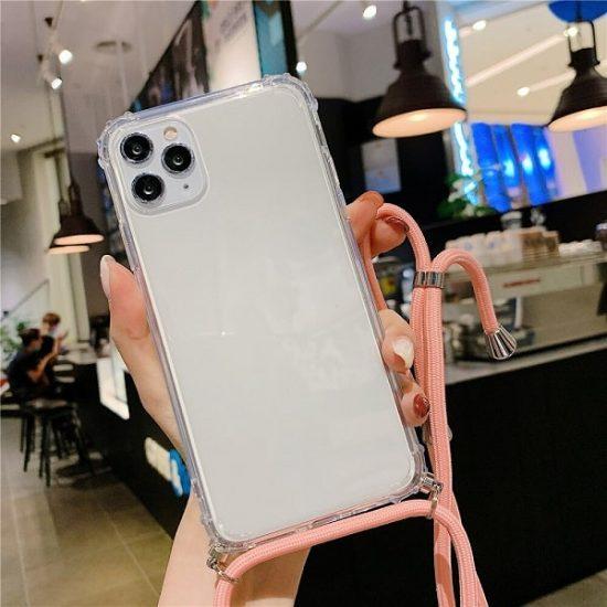 Transparent Crossbody iPhone 13 Pro Max Case - Pink Color