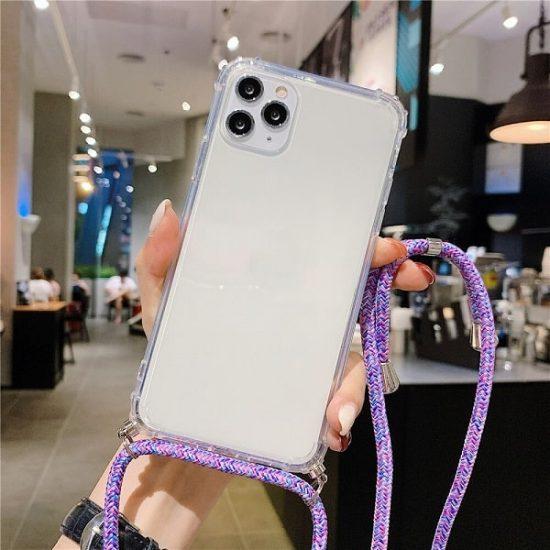 Transparent Crossbody iPhone 13 Pro Max Case - Purple