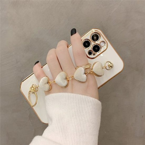White Heart iPhone Case With Hand Bracelet Holder