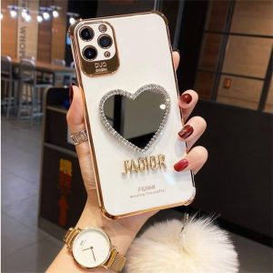 White Heart shaped Mirror case with Plush Hairball