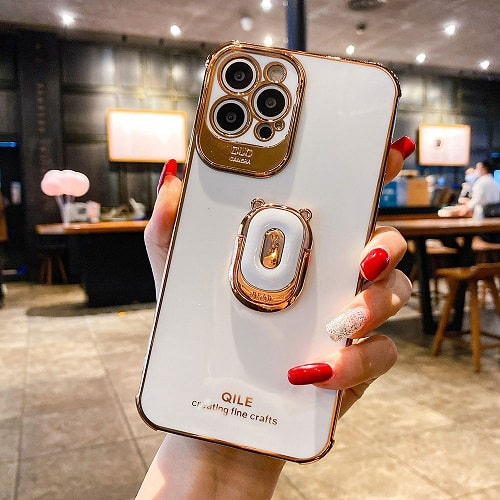 White Laser iPhone Case With Finger Ring