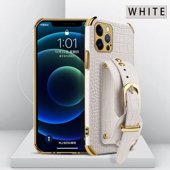 White Leather iPhone Case with Hand Strap Holder