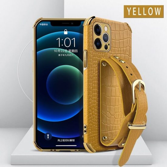 Yellow leather wristband phone case