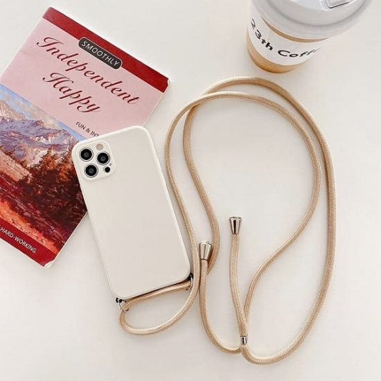 Beige silicone iphone 13 Pro case with lanyard