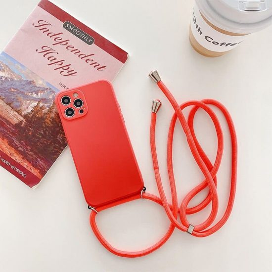 Camellia red Necklace iPhone 13 Pro Case With Neck Cord