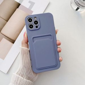 Candy Color Phone Case With Back Card Holder