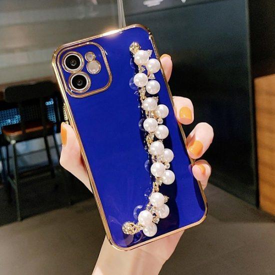 Dark Blue Hand Bracelet iPhone Case With Pearl Strap