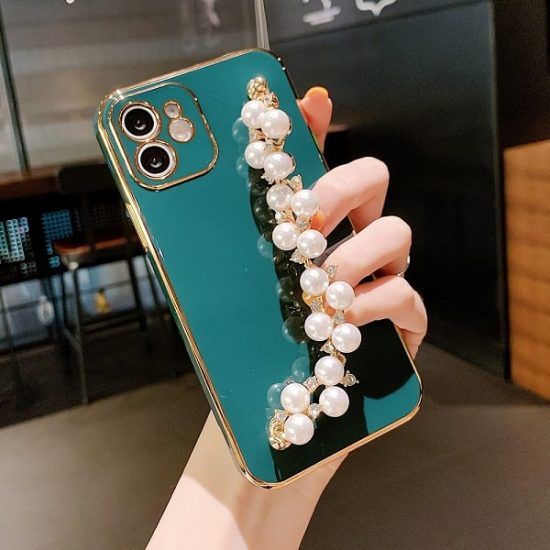 Dark Green Bracelet iPhone Case With Pearl Strap
