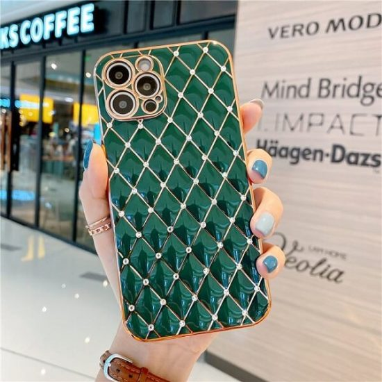 Dark Green Jeweled Diamond Phone Case with camera lens protection