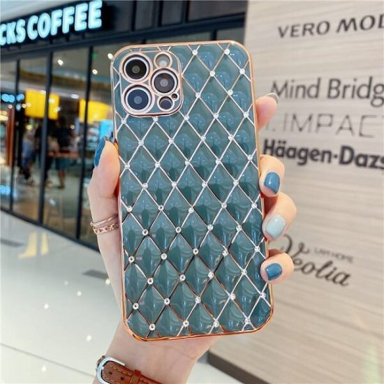 Gray Jeweled Diamond iPhone Case