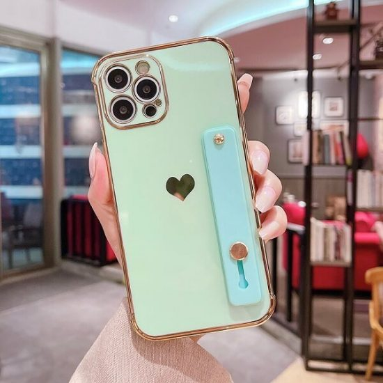 Green Love Heart iPhone Case With Hand Strap