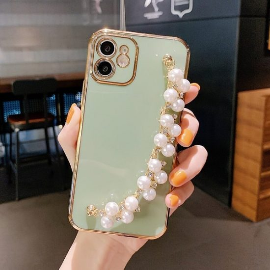 Hand Bracelet iPhone Case With Pearl Strap