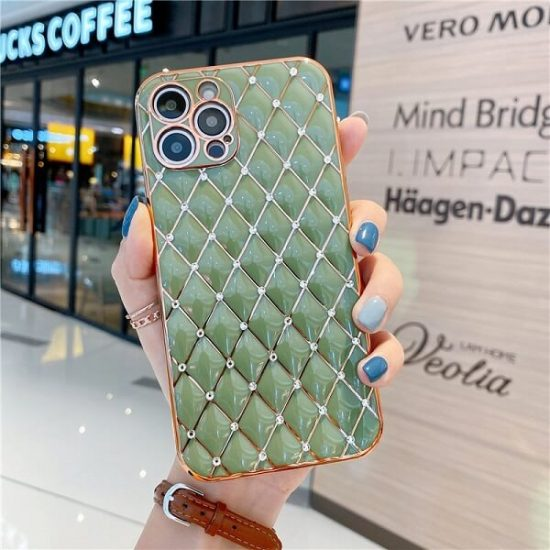 Light Green Jeweled Diamond Phone Case with camera lens protection