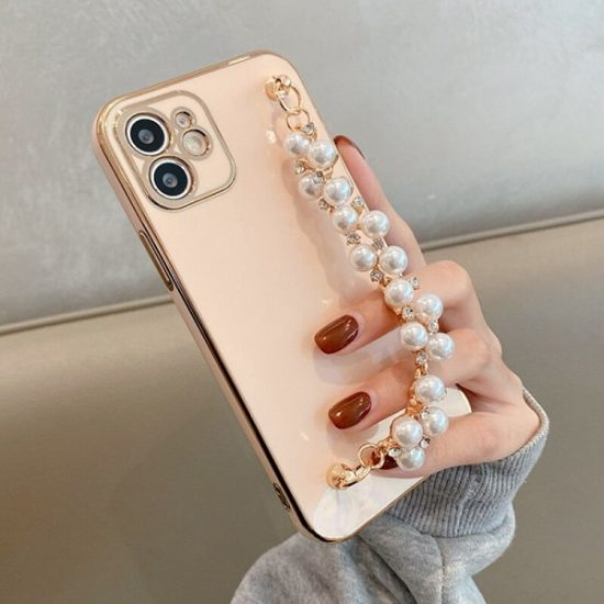 Pink Hand Bracelet iPhone Case With Pearl Strap