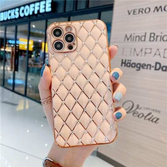 Pink Jeweled Diamond Phone Case with camera lens protection