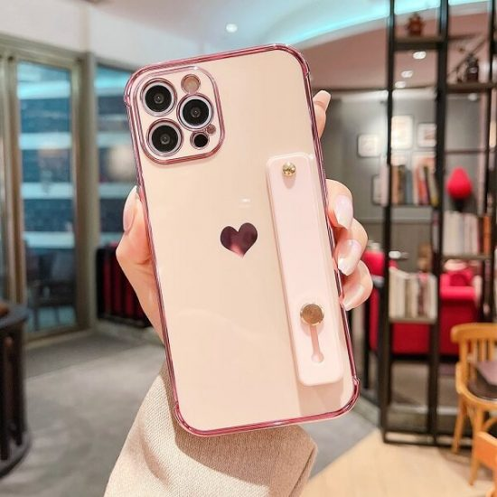 Pink Love Heart Phone Case With Hand Strap
