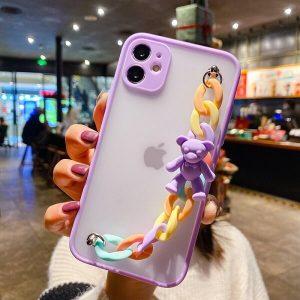 Purple Cute Bear Phone Case With Chain Strap
