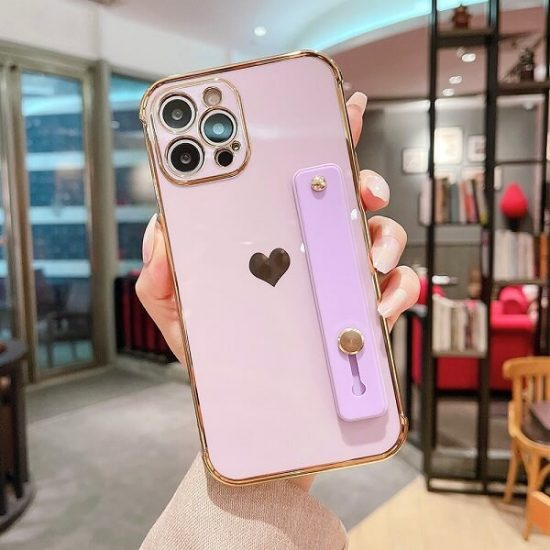 Purple Love Heart iPhone Case With Hand Strap Holder
