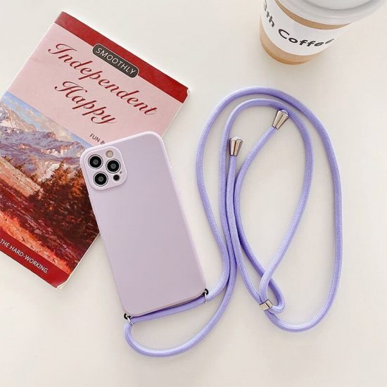 Purple silicone iphone 13 case with lanyard
