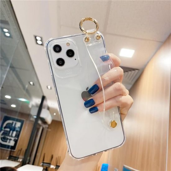 Shockproof Clear iPhone Case With a Handle Strap on Back