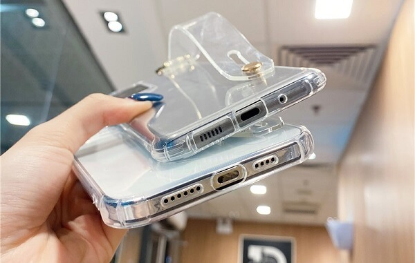 Shockproof Transparent iPhone Case With Handle Strap on Back