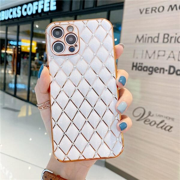 White Jeweled Diamond iPhone Case with camera lens protection