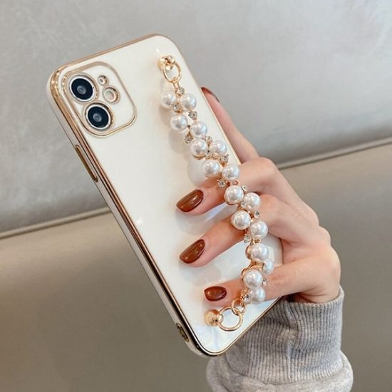 White gold plated phone case with bracelet strap