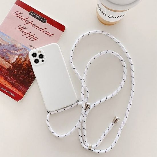 White silicone iphone 13 pro max case with lanyard
