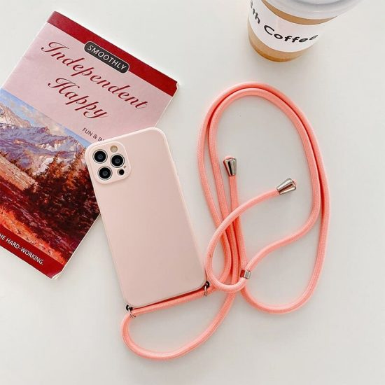 pink silicone crossbody iPhone 13 case