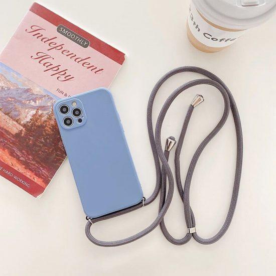 silicone crossbody iPhone 13 Pro case - lavender grey