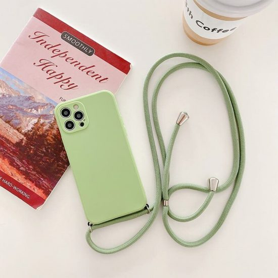 silicone necklace phone case with a neck cord for iPhone 13 - green