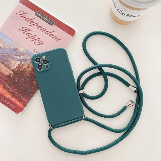 silicone necklace phone case with a neck cord for iPhone 13 pro max - dark green